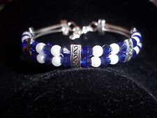 Hot Tibet Silver Fashion Jewelry White Pearl & Blue Crystal Bead Bracelet B-30