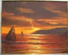 BELAISH AVI OIL ON CANVAS ATTACH TO CARDBORD SUNSET LANDSCAPE