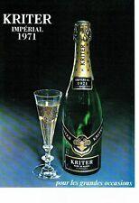 PUBLICITE ADVERTISING 017  1973  Kritter vin blanc de blanc mousseux