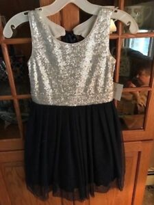 Girls Holiday outfit Silver Glitter and Blue Lace Size 8