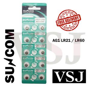 AG1 LR621 LR60 ALKALINE BUTTON COIN CELL WATCH BATTERIES SUNCOM Battery Genuine