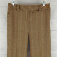 Ann Taylor LOFT Womens Size 6 Stretch Brown Striped Wide Lined Dress Career Pant