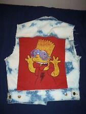 Vintage 90's PUMA Denim Acid Washed VEST Jacket with Bart Simpson Print sewn on