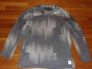 NIKE PRO HYPERWARM LONG SLEEVE GRAY FITTED JERSEY MENS XL EXCELLENT CONDITION