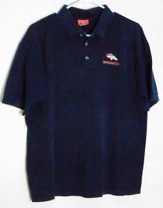 NFL Denver Broncos Men's Navy Team Logo Collared Polo Shirt 100% Cotton Size L