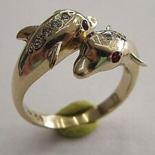 14K SOLID GOLD DOLPHIN RUBY AND CZ RING SIZE 7 1/4