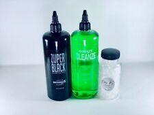 Intenze Zuper Black Tattoo Ink 12 oz + Intenze Cleanze+ 100 Ink Caps