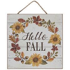 """Hello Fall Wood Wall Decor 6 3/8"""" X 6 3/8"""""""