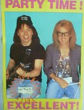 RARE WAYNES WORLD PARTY TIME 1991 VINTAGE ORIGINAL SNL PROMO PIN UP POSTER