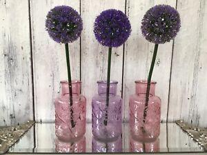 Set of 3 Brand New Stunning Decorative Floral Design Glass Vases Home Decor Gift