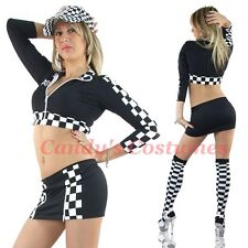 GRID GIRL COSTUME Grand Prix SPEED Racer SKIRT Cropped JACKET Chequered BLACK