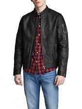 Mens Jack & Jones Leather Soft Biker Jackets Black Designer Zip Up Coats