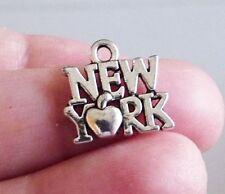 10pcs New York Apple Charms for Bracelet Necklace State Pendant Antique Silver