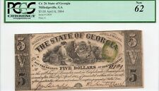 1864 $5 State of Georgia - PCGS-62 - Civil War Era Obsolete Currency