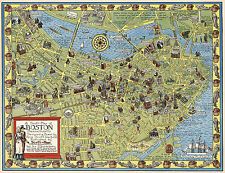 Pictorial Map Boston Massachusetts Family History Wall Art Print Poster Decor