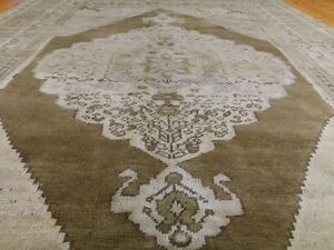 Antique Cr1900-1939's Muted Natural Dye Bohemian Oushak Area Rug 5x8ft