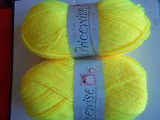 King Cole Priceswise double knitting yarn, Acid (yellow), lot of 2 (320 yd ea)
