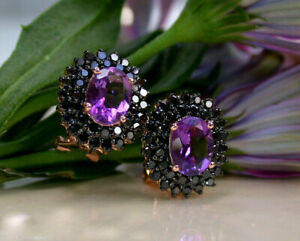 Delicated 4Ct Oval Cut Amethyst Clip-On Stud Earrings Solid 18K Rose Gold Finish