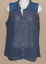 Women's 'edge' Size L-Blue/Brown Sleeveless Sheer Blouse Shirt Missing Button