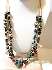 Beige Beads Double Strand Vintage Shell Necklace Heishe Shells Gemstone Chips