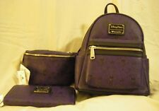 Disney PURPLE HAUNTED MANSION Loungefly MINI BACKPACK WALLET FANNY PACK Set NWT
