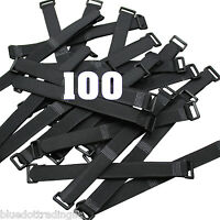 "100 x 8"" Black Cable Ties ~ Wire Cord Straps Reusable Hook & Loop ~ US Seller"