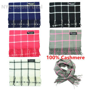 Wholesale Lot Men Women 100% CASHMERE Scarf Made in Scotland Checked Wool Feel