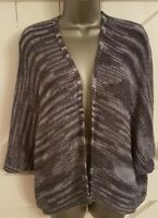Silver/Grey Cardigan Casual Batwing Thin Knit Excellent Condition Ladies Women's