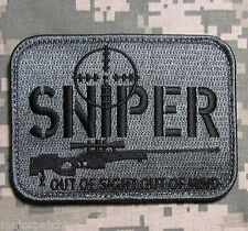 SNIPER OUT OF SIGHT MIND USA ARMY MILITARY TACTICAL ACU DARK HOOK MORALE PATCH