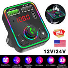 Bluetooth Wireless FM Transmitter Adapter 2USB PD Charger AUX Hands-Free 12V/24V