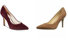 Nine West Women's Shoes Flax Pointed Toe Pumps Suede Brown, Burgundy