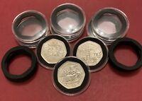 38mm Clear Coins Holder Capsule+ Insert Foam For large 50p UK , Gibraltar & IOM
