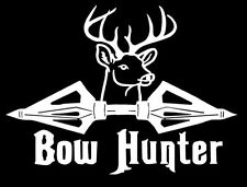 Bow Hunter with buck hunting car truck window White vinyl decal graphic sticker