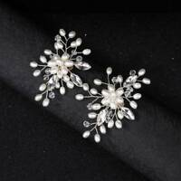1 Pair Shoe Clips Faux Pearl Crystal Rhinestones Charm Metal Bridal Accessories