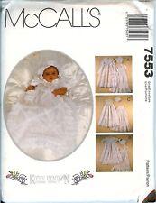 McCalls 7553 Infant Baby Christening Gown Christian Slip Bonnet pattern UNCUT FF