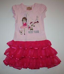 New Beautiees Pretty Pink New York City Fashionista Ruffle Dress size 5  NWT