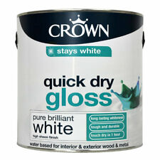 Crown Quick Dry Gloss Paint 750ml Pure Brilliant White Stays White