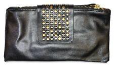 Black Womens Studded Double Zip Zipper Wallet Wristlet