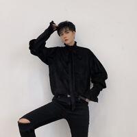 Men Puff Sleeve Shirt Blouse Belt Ruffle Neck Loose Casual Hairstylist Top Black