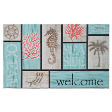 Addison Welcome Coral Azul 18x30 Inches Recycled & Hand Crafted Rubber Door Mat