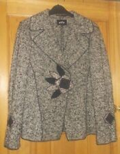Ladies M&S PER UNA Black & White Wool Blend Decorated Fitted Jacket - Size 10