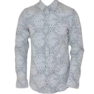 Camicia uomo cotone nero collo rigido manica lunga motivo astratto bianco nero b