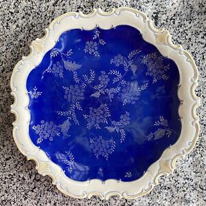 Porzellan Teller mit Goldrand/Blau, VEB Porzellanwerk Reichenbach