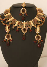 Garnet Bead Stones And Clear Crystals Womens Jewellery Set With Emerald Ruby