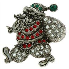 Santa Claus Pin Made With Swarovski Crystal Silver Vintage Look Christmas Brooch