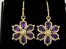EP038- Genuine 9ct Gold Natural AMETHYST & Pearl Large DAISY Drop EARRINGS