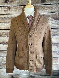 Polo Ralph Lauren Tweed Wool Cardigan Sweater Size L Brown