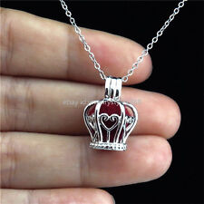 K32 Silver Oyster Pearl Cage Princess Crown Locket Necklace Girl Stainless Chain