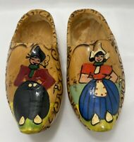 Painted Dutch Wooden Shoes Clogs Holland Man & Woman Wood Hand Carved Vintage