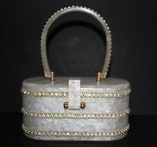 VTG Gilli Originals New York White Marble Lucite Purse Rhinestones